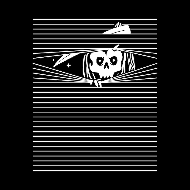 Skull grim reaper, t-shirt ontwerp Premium Vector