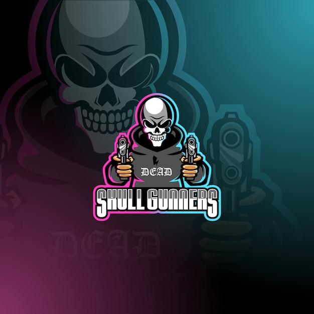 Skull gunners esport mascotte logo sjabloon Premium Vector