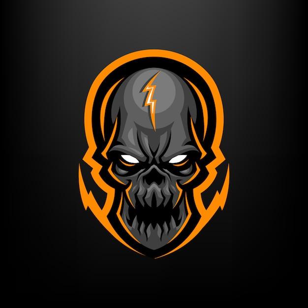Skull head mascotte illustratie voor sport en esports logo geïsoleerd op zwarte achtergrond Premium Vector