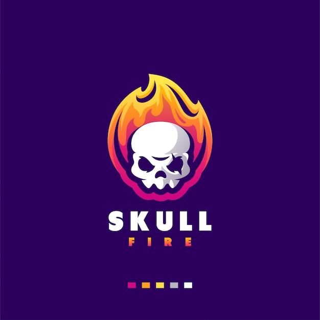 Skull logo-ontwerp voor gaming esports Premium Vector