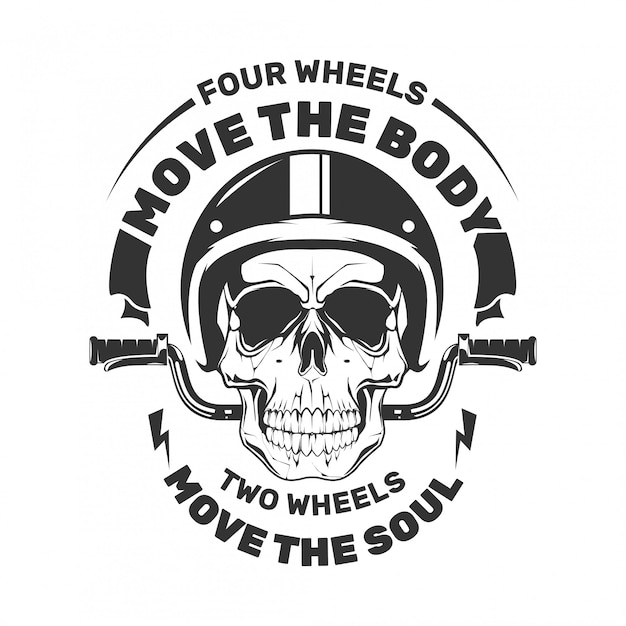 Skull motorfiets met roer. verplaats het lichaam. Premium Vector