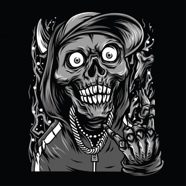 Skull rapper zwart-wit afbeelding Premium Vector