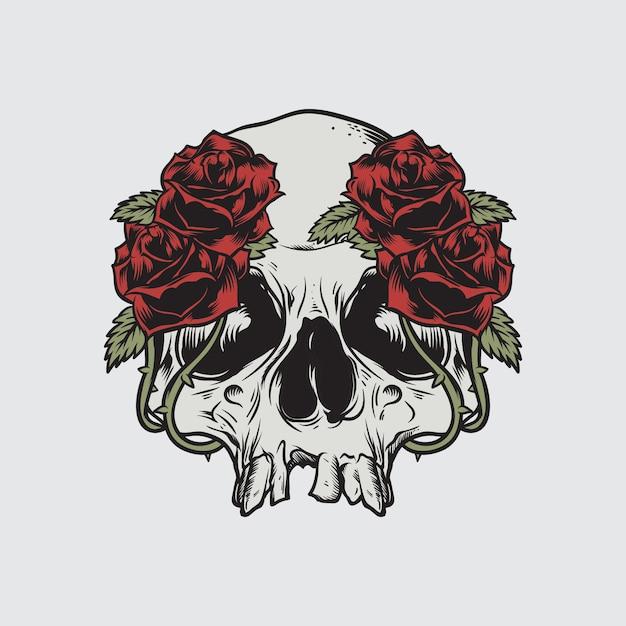 Skull roses death vector illustratie Premium Vector