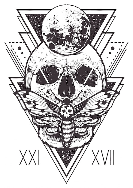Skull Sacred Geometry Design Gratis Vector