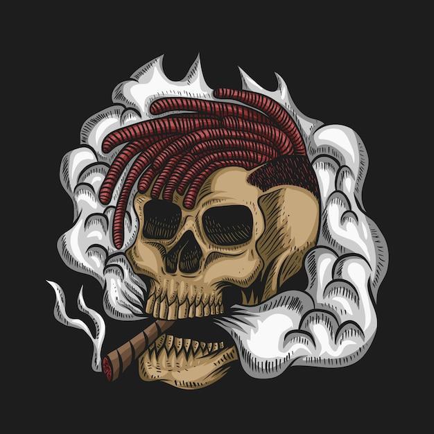 Skull smoke vector illustratie voor uw bedrijf of merk Premium Vector