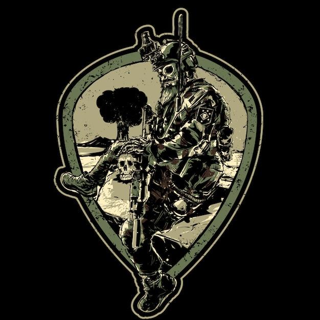 Skull soldaat met pistool Premium Vector