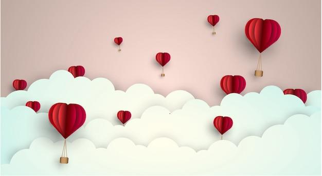 Sky love cloud ballon. vector illustratie - papier knippen stijl. Premium Vector