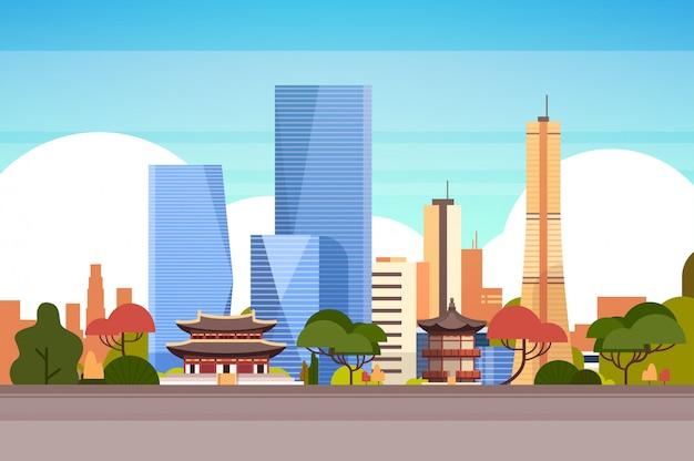 Skyline uitzicht met wolkenkrabbers en beroemde monumenten Premium Vector