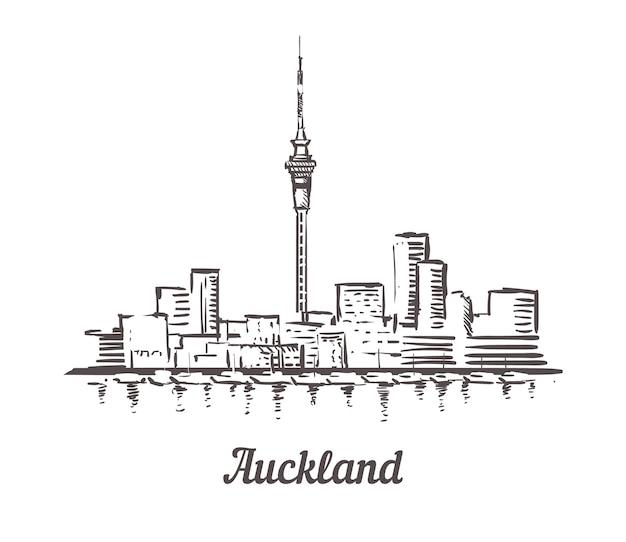 Skyline van auckland Premium Vector