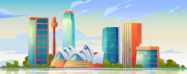 Skyline van sydney, australië met opera house banner Gratis Vector