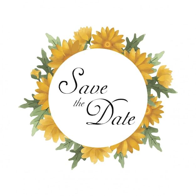 Sla de datum sjabloon met aquarel stijl zonnebloem Premium Vector