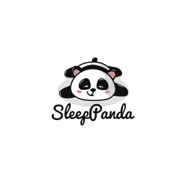 Slaap panda logo template Premium Vector