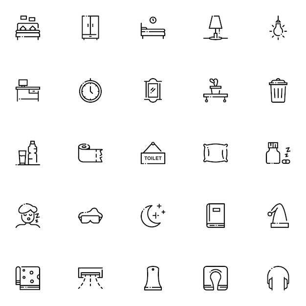 Slaapkamer icon pack, met overzicht pictogramstijl Premium Vector