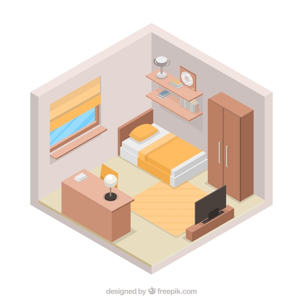 Slaapkamer In 3d Stijl Vector Gratis Download