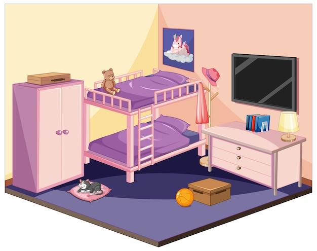 Slaapkamer in roze kleurenthema isometrisch Gratis Vector