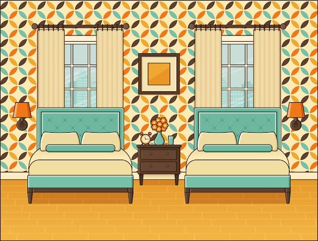 Slaapkamer interieur. hotelkamer met twee bedden en ramen. vintage-stijl Premium Vector