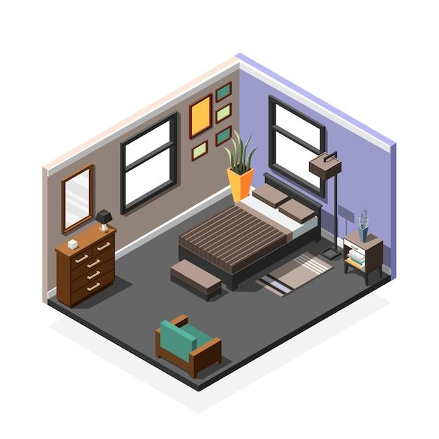 Slaapkamer isometrische interieur samenstelling Gratis Vector