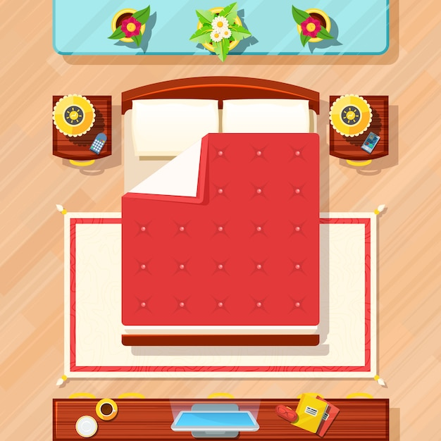 Slaapkamer ontwerp illustratie Gratis Vector