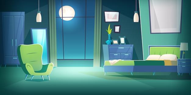 Slaapkamerbinnenland bij nacht met maanlichtbeeldverhaal Gratis Vector
