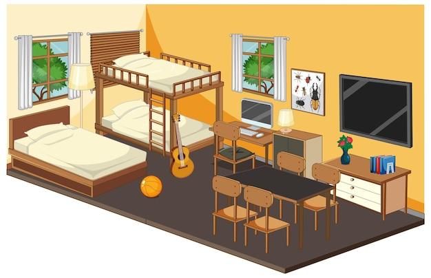 Slaapkamerbinnenland met meubilair in geel thema Gratis Vector
