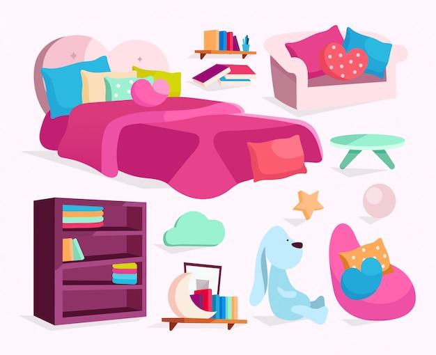 Slaapkamermeubilair illustraties instellen. meisjesachtig bed, bank, fauteuil met kussens stickers, cliparts pack. Premium Vector