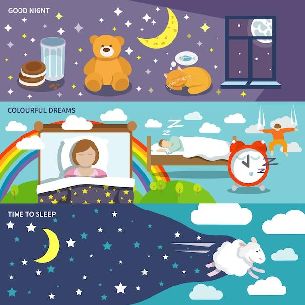 Slaaptijd banners Gratis Vector