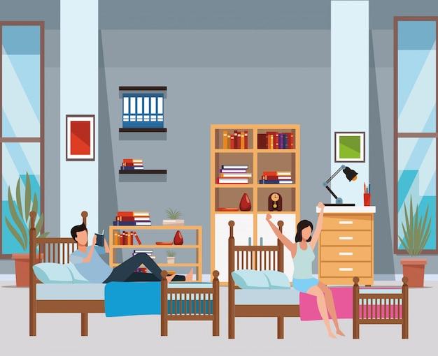Slaapzaal met 2 bedden en gezichtsloze mensen Premium Vector