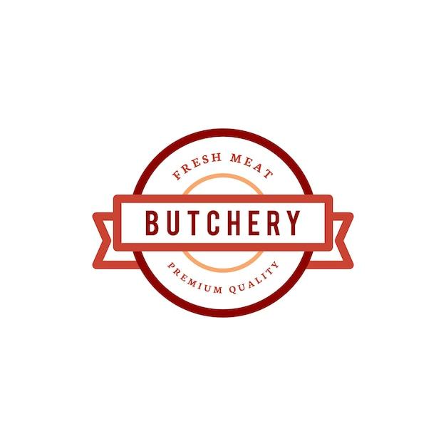 Slachterij winkel logo ontwerp illustratie Gratis Vector