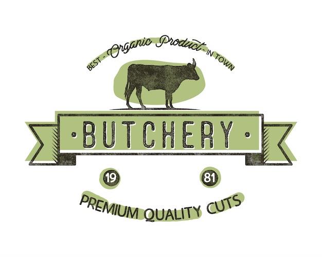 Slachterijwinkel vintage embleem. slagerij winkel logo sjabloon retro stijl. Premium Vector