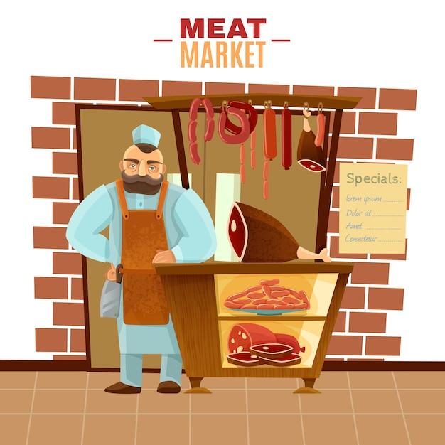 Slager cartoon illustratie Gratis Vector