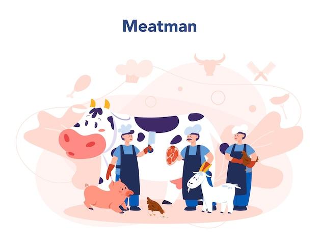 Slager of vleesman concept. vers vlees en vleeswaren met ham en worst, rundvlees en varkensvlees. geïsoleerde vectorillustratie Premium Vector