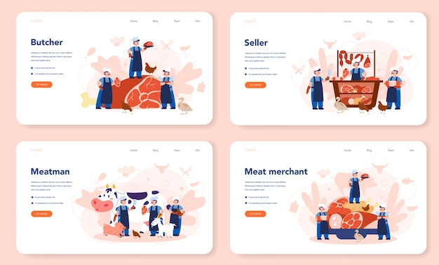 Slager of vleesman web-bestemmingspagina-set. vers vlees en vleeswaren met ham en worst, rundvlees en varkensvlees. geïsoleerde vectorillustratie Premium Vector