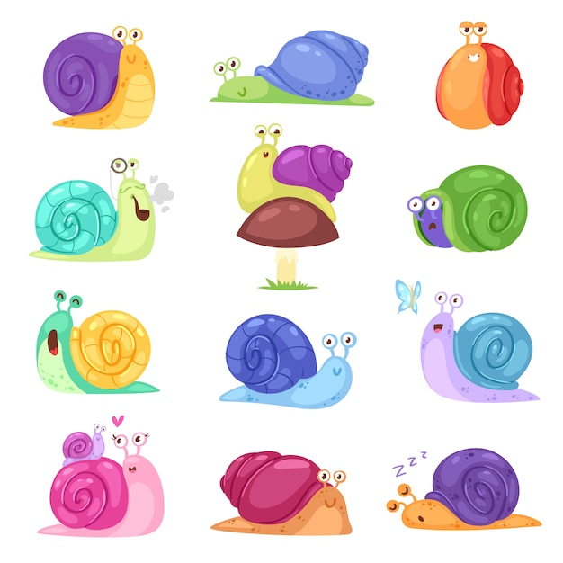 Slak vector slak-vormige karakter met shell en cartoon slakvis of slak-achtige weekdier kinderen illustratie set van mooie slak tempo slakken geïsoleerd op witte achtergrond Premium Vector