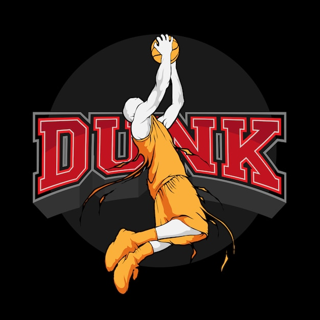 Slam dunk basketbal sihouette Premium Vector