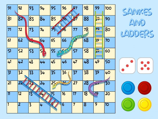 Slangen en ladder game sjabloon Premium Vector