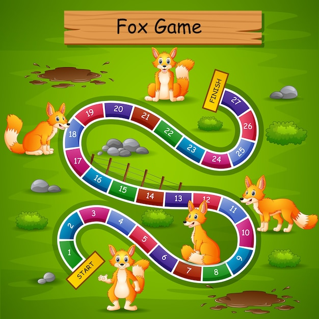 Slangen en ladders game fox thema Premium Vector