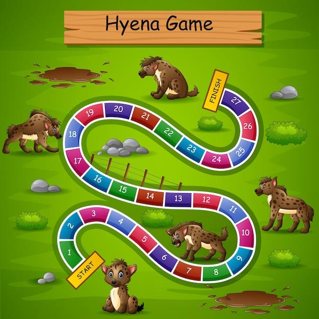 Slangen en ladders game hyena-thema Premium Vector