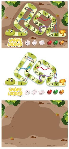 Slangen en ladders game set met tuin Premium Vector