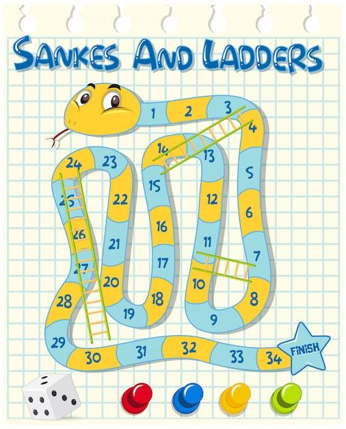 Slangen en ladders spel op raster papier Premium Vector