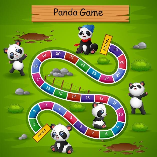 Slangen en ladders spel panda thema Premium Vector