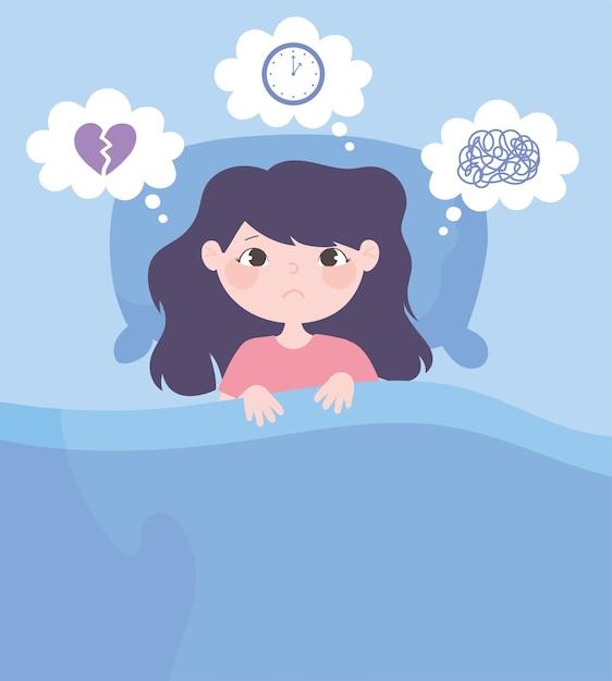 Slapeloosheid, cartoon meisje op bed met hoofdpijn bezorgd vectorillustratie Premium Vector