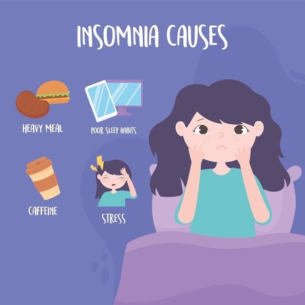 Slapeloosheid, meisje met oogzakken en veroorzaakt stoornis stress zware maaltijd cafeïne en slechte slaapgewoonten vector illustratie Premium Vector