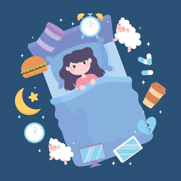 Slapeloosheid, meisje slaapstoornis, veroorzaakt zware maaltijd medicijnen cafeïne stress en slechte slaapgewoonten vector illustratie Premium Vector