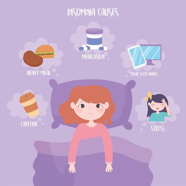Slapeloosheid, redenen van ziekte zware maaltijd medicijnen cafeïne stress en slechte slaapgewoonten vector illustratie Premium Vector