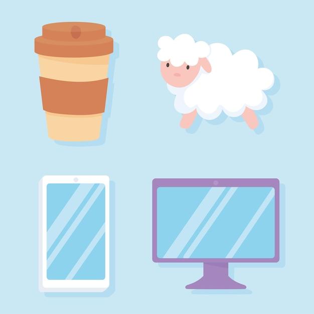 Slapeloosheid, schapen computer mobiel en koffiekopje iconen vector illustratie Premium Vector