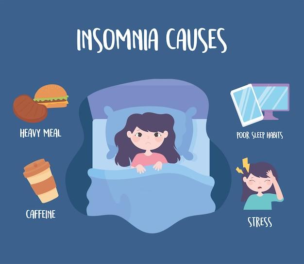 Slapeloosheid, slaapstoornis veroorzaakt cafeïne zware maaltijd medicijn stress en slechte gewoonten vector illustratie Premium Vector