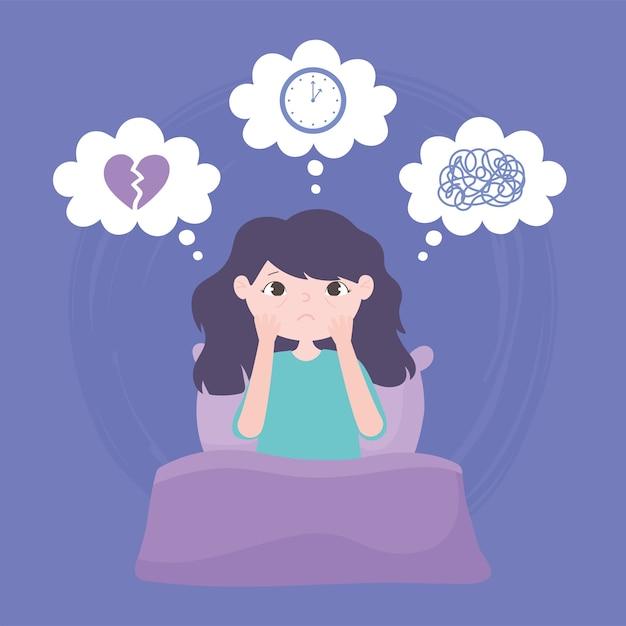 Slapeloosheid, verdrietig meisje op bed slapeloze depressie vectorillustratie Premium Vector
