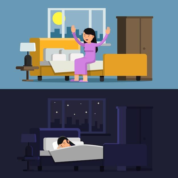 Slapende meisje in bed. vrouw in de ochtend Premium Vector