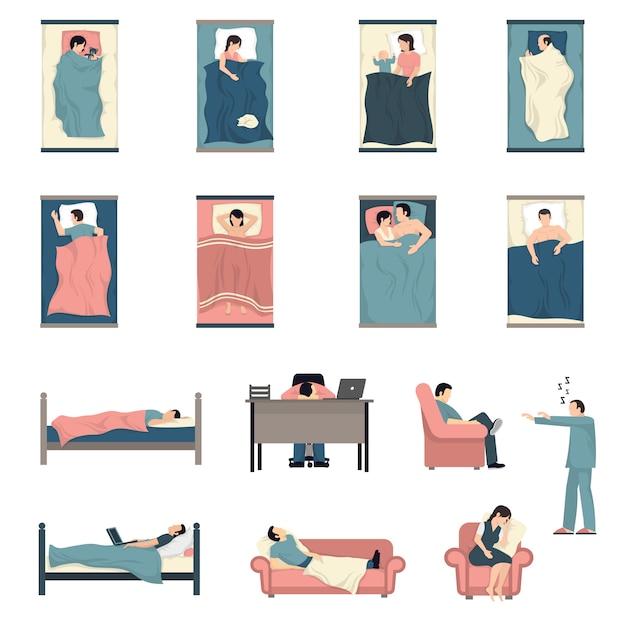 Slapende mensen plat pictogrammen instellen Gratis Vector