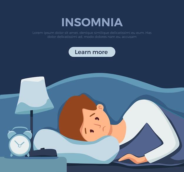 Slaperig wakker man in bed lijdt aan slapeloosheid Premium Vector